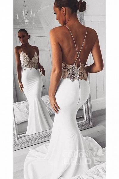 Sexy Spaghetti Straps Mermaid Long Beach Wedding Dress with Lace_2