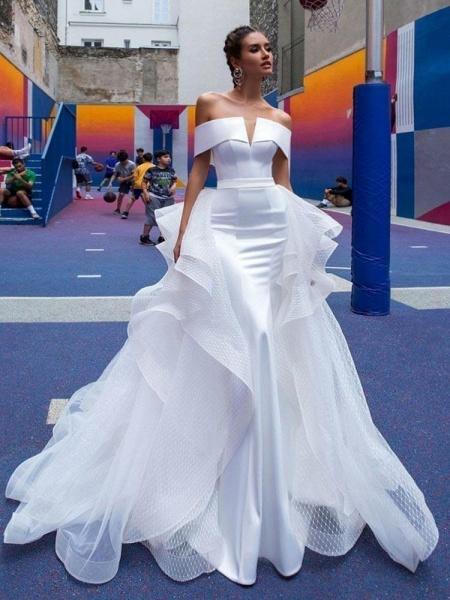 Fashion Off-the-Shoulder Tulle Mermaid Wedding Dresses_1