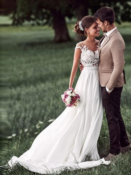 Affordable Cap Sleeves Lace Covered Button Wedding Dresses_1