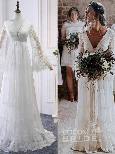 Elegant Long Sleeves V-Neck Tulle Wedding Dresses_4