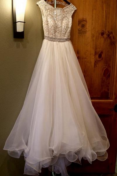 White Organza Round-Neck Lace Open Back Wedding Dresses_1