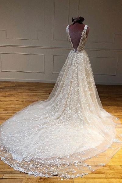 Beautiful A Line Deep V Neck Creamy Wedding Dress_2