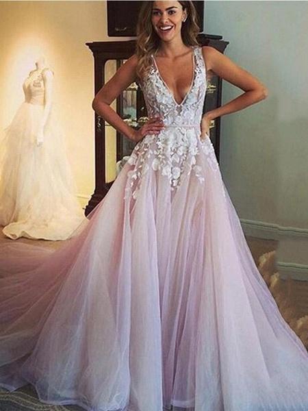 Elegant V Neck Tulle A-Line Wedding Dresses_1