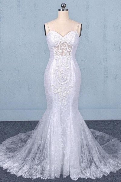Spaghetti Straps Mermaid with Appliques Lace Beach Wedding Dress_1