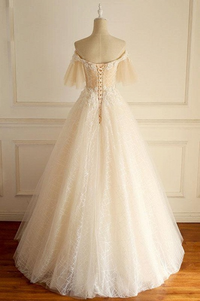Light Champagne Tulle lace Short Sleeve Strapless Long Wedding Dress_3