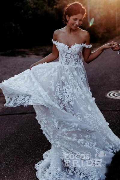 White Off the Shoulder Lace Beach Rustic Boho Wedding Dress_2