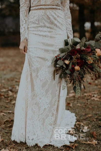 Vintage Long Sleeves Backless Rustic Lace Wedding Dress_4