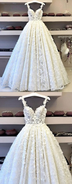 White Flower Lace Sweetheart Long Halter Wedding Dress_3