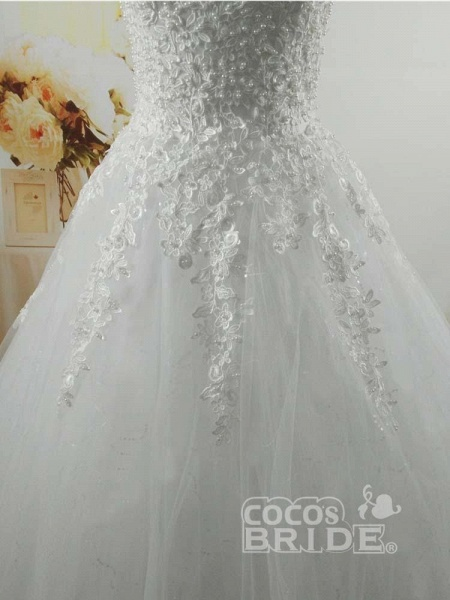 Pearls A-Line Tulle Wedding Dresses_5