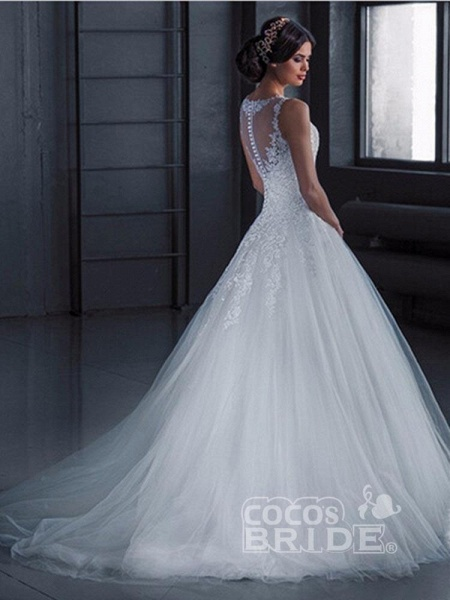 Glamorous Lace Tulle Ball Gown Wedding Dresses_4