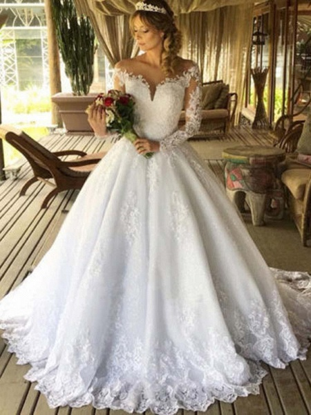 Luxury Long Sleeves Lace Ball Gown Wedding Dresses_1