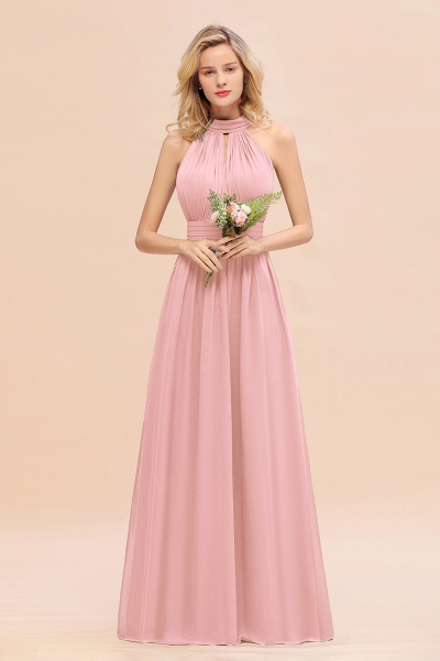 BM0758 Glamorous High-Neck Halter Bridesmaid Affordable Dresses with Ruffle_4