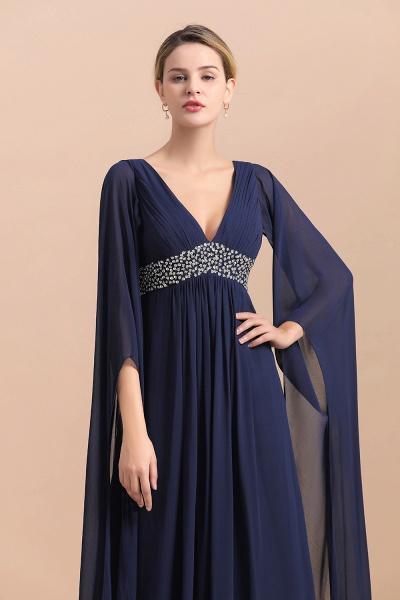 Long Sleeve Ruffles Beads Pearls Chiffon Mother Of the Bride Dress_9