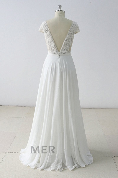 White Lace Backless V Neck Long Wedding Dress_3