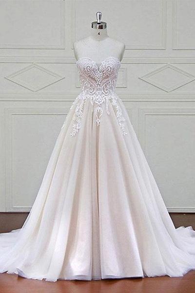Ivory Tulle Sweetheart A Line Long Wedding Dress_1