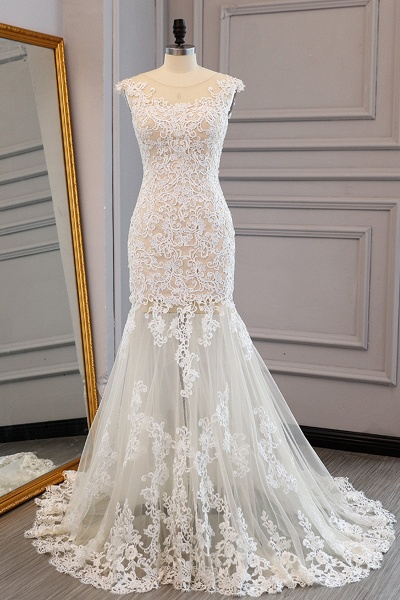 Ivory Lace Long Mermaid Wedding Dress_1