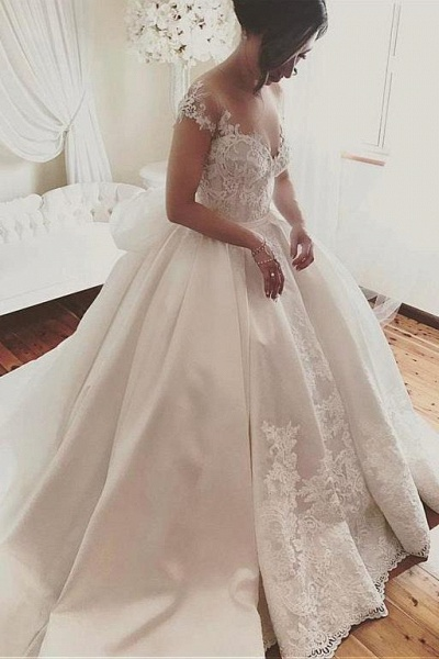 Fascinating Satin Sheer Neckline Ball Gown Appliques Bowknot Wedding Dress_1