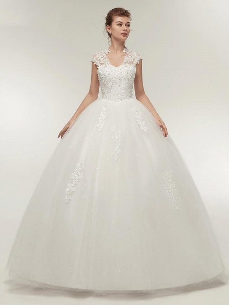 V-Neck Cap Sleeves Ball Gown Lace Wedding Dresses_1