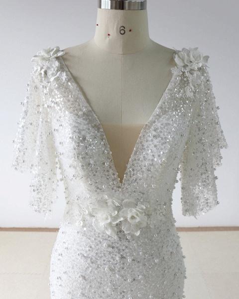 Stunning Sequins White Tulle Sweep Train Mermaid Short Sleeve Wedding Dress_2