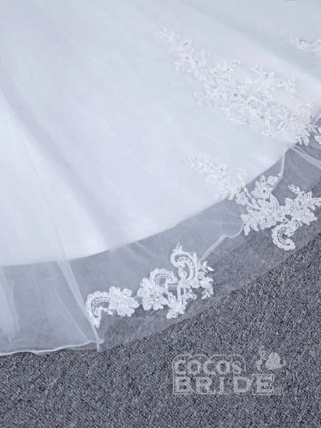 Elegant V-Neck Lace Tulle Mermaid Wedding Dresses_6