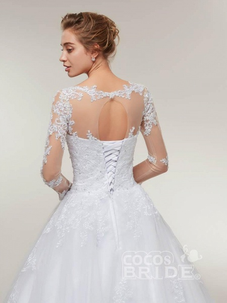 Glamorous Long Sleeves Lace-Up Ball Gown Wedding Dresses_6