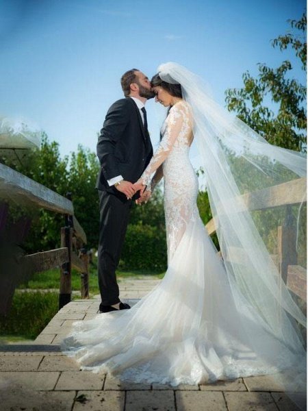 Pretty Lace Mermaid Long Sleeves Wedding Dress_1