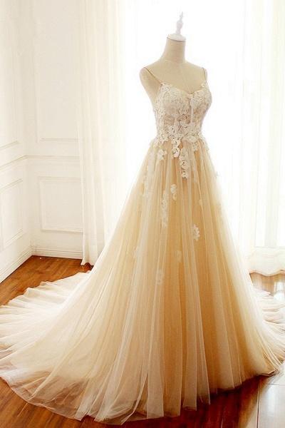 Sweetheart Creamy Tulle Spaghetti Sweep Train Wedding Dress_1
