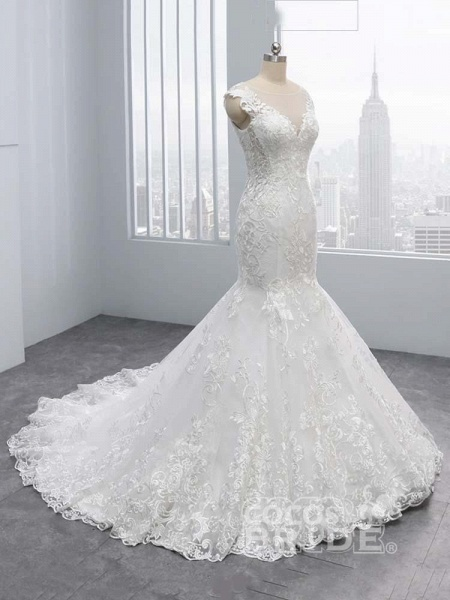 New V-Neck Lace Mermaid Wedding Dresses_2