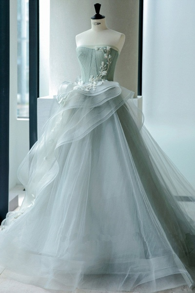 Sweetheart Gray Green Organza Long A Line Wedding Dress_1