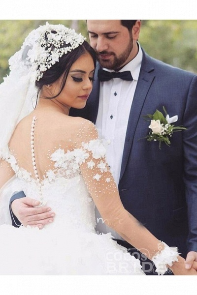 Ball Gown Sheer Neck with Flowers Long Sleeves Puffy Wedding Dress_2