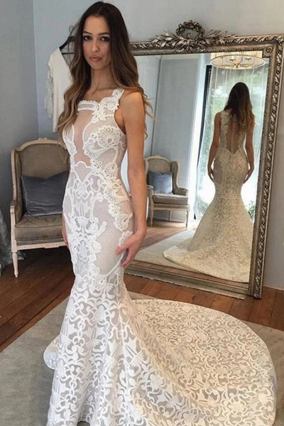 Delicate Illusion Court Train Lace Mermaid Wedding Dress_1
