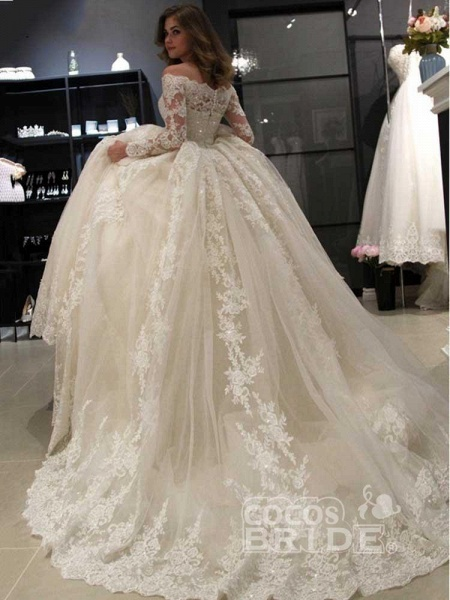 Gorgeous Long Sleeves Lace Ball Gown Wedding Dresses_2