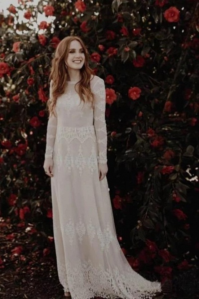 Long Sleeve Lace Beach Country Wedding Dress_1