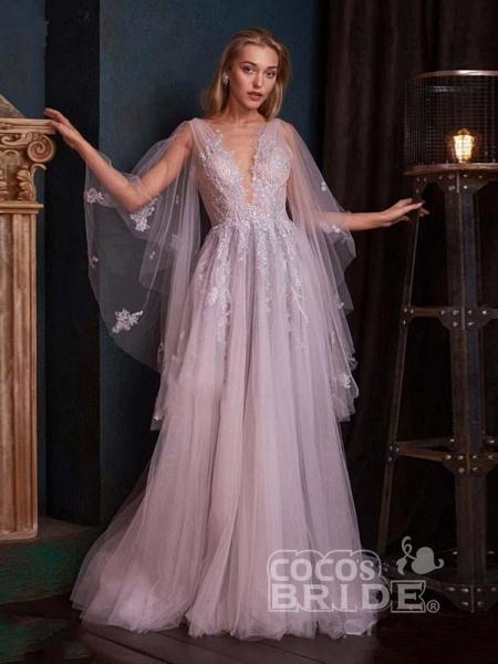 V-Neck Backless Tulle Ruffles Wedding Dresses_3