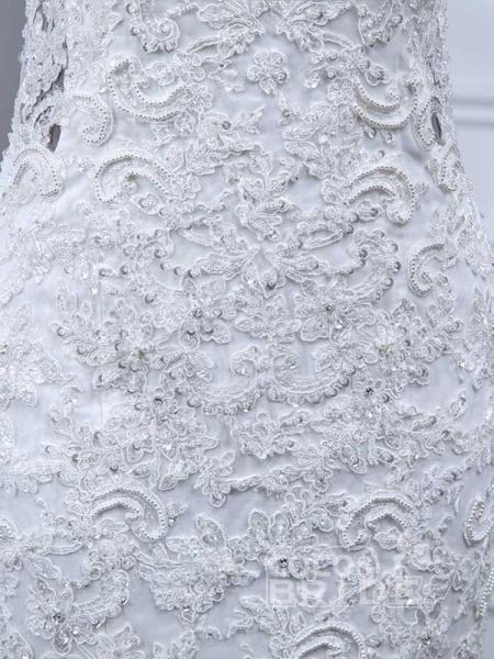 Elegant V-Neck Lace Tulle Mermaid Wedding Dresses_5