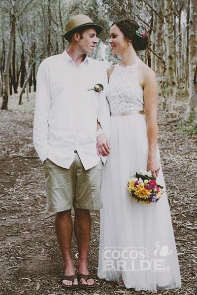 Simple Jewel Sleeveless Gown Lace Top Tulle Beach Wedding Dress_3