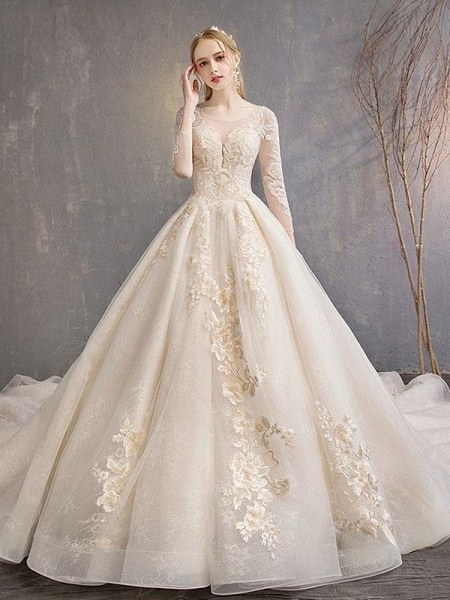 Long Sleeve Lace-Up Applique Ball Gown Wedding Dresses_1