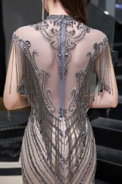 High Neck Cap sleeves Sparkle Beads Long Prom Dresses_13