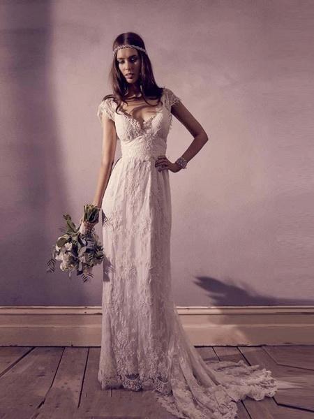Gorgeous V-Neck Cap Sleeves Lace A-Line Wedding Dresses_1