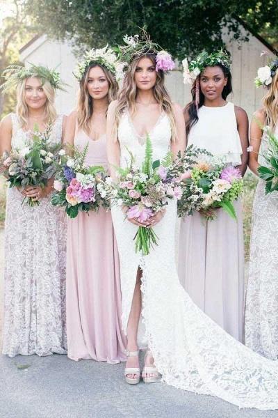 V-Neck Court Train Split Backless Lace Mermaid Wedding Dress_2