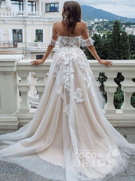 Off-the-Shoulder Lace Tulle A-Line Wedding Dresses_2