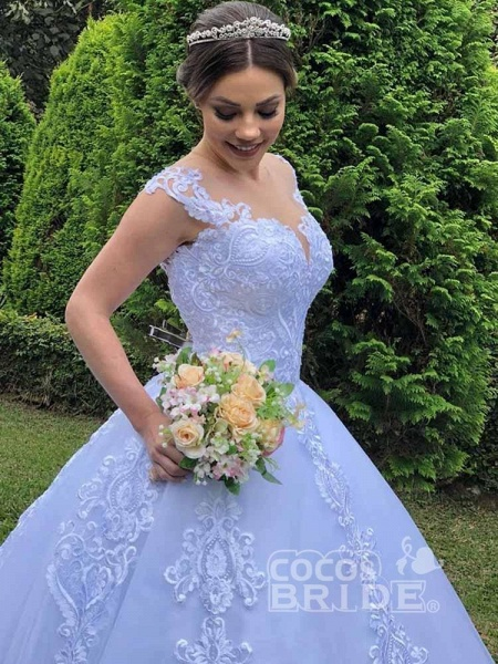 Exquisite Scoop Short Sleeve Zipper Lace Wedding Dresses_4