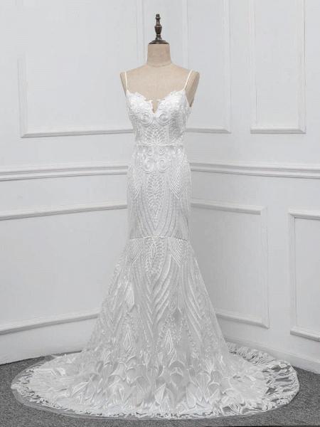 Elegant Spaghetti-Strap Backless Mermaid Wedding Dresses_1