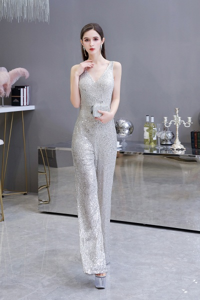 Sexy Shining V-neck Sleeveless Prom Jumpsuit with Silver Sequins_6