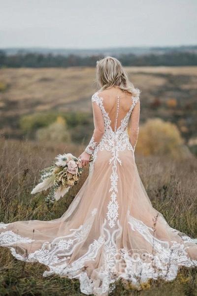 Amazing Long Sleeves Boho Lace Appliques Wedding Dress_2