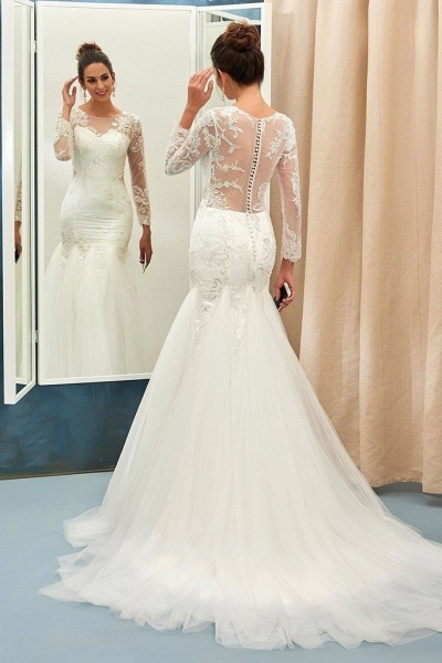 Ivory Sweep Train Applique Tulle Long Sleeves Elegant Wedding Dress_1