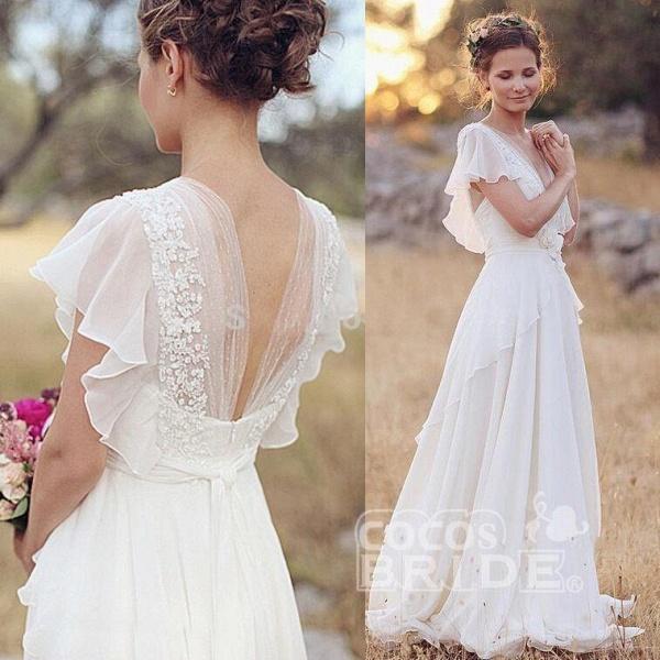 Ivory V Neck Chiffon Boho Unique Cap Sleeves Beach Wedding Dress_3