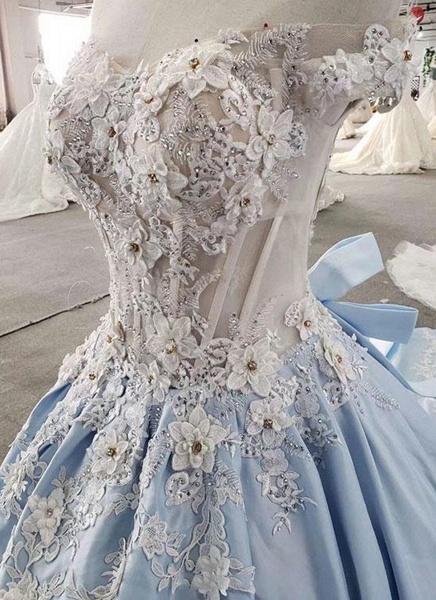 Light Blue Satin Off Shoulder Sweep Train Wedding Dress_2