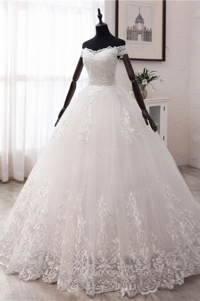 Long Ball Gown Off-the-shoulder Tulle Wedding Dress with Lace Appliques_5