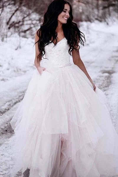 Charming Straps Lace Top Backless Tulle Asymmetrical Ivory Wedding Dress_1